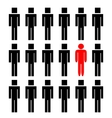 One different man among another people vector image