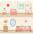 Colorful flat style modern livingroom interior vector image vector image