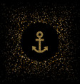 Golden anchor symbol vector image