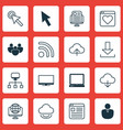 set of 16 world wide web icons includes computer vector image