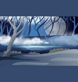 forest scene with fullmoon and mist vector image
