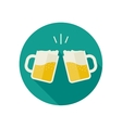 Clink mugs with beer icons vector image