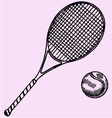 Tennis racket ball vector image