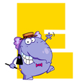 Letter E With An Elephant vector image vector image