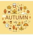Autumn Line Art Thin Icons Set with Umbrella vector image