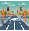city crossroad with traffic lights vector image