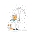 Cute cartoon cat umbrella rain and puddles vector image