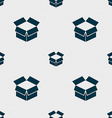 Open box icon sign Seamless pattern with geometric vector image