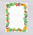 sheet with vegetable frame on wooden backdrop vector image