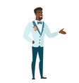 groom with arm out in a welcoming gesture vector image