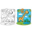 Coloring book of giraffe Alphabet G vector image
