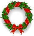 Holly wreath with a red ribbon vector image