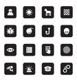 black flat security icon set vector image