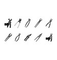 pliers icon set simple style vector image