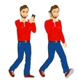 two happy young men walking with smartphone vector image