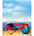 wake boarding park background vector image