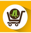 cart buy vegetable pea icon vector image