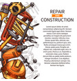 repair and construction poster of work tools vector image