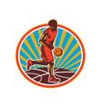 Basketball Player Dribbling Ball Woodcut Retro vector image