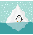 Penguin on Iceberg Blue water Snow in the sky Flat vector image