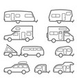 caravans and camper trailers - road trip icons vector image