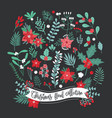christmas floral decoration collection set of vector image