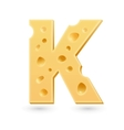 K cheese letter Symbol isolated on white vector image