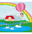 kids in an air balloon and beautiful country vector image