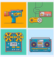 retro gadgets from 90s in flat line style vintage vector image