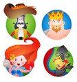 set of four round of avatars with a picture of vector image