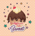 sweet and delicious cupcake birthday card vector image