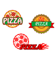 Tasty pizza banners and emblems set vector image