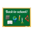 Blackboard and school supplies set vector image