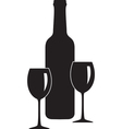 bottle and glass of wine vector image vector image