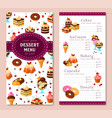 menu template for bakery desserts cakes vector image