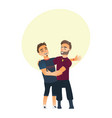 male friendship - two boys men friends hugging vector image vector image