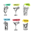 Set of cocktails and alcohol drinks Sketch vector image