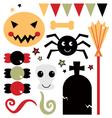 Beautiful cute halloween design elements vector image