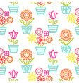 colorful line flower pots seamless vector image