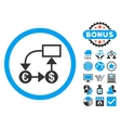 Currency Flow Chart Flat Icon with Bonus vector image