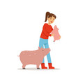 farmer woman caring for her pigs farming and vector image