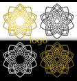 graphic geometric goldenwhite black flower symbol vector image