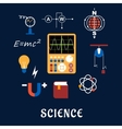 Science physics flat icons set vector image