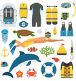 Skin Diving and Snorkeling Set vector image