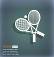 tennis icon On the blue-green abstract background vector image