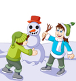 Funny children cartoon playing with snowman in sno vector image