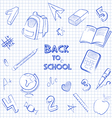 Back to school set on the notebook sheet vector image
