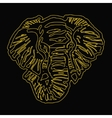 head of elephant yellow outline black background vector image
