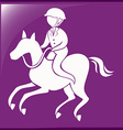 Sport icon for equestrain on purple background vector image