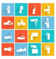 Hand holding objects white set vector image